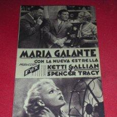 Cine: PROGRAMA TARJETA FOX 'MARIA GALANTE' KETTI GALLIAN Y SPENCER TRACY. Lote 33054265