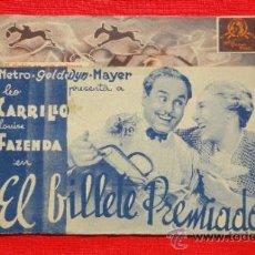 Cine: EL BILLETE PREMIADO, LEO CARRILLO LOUISE FAZENDA, DOBLE MGM 1937, EXCLNTE EST PUBLI EXCELSIOR CINEMA. Lote 33139728