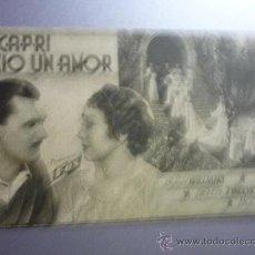 Cine: PROGRAMA CINE CARTULINA EN CAPRI NACIO UN AMOR. Lote 33203597