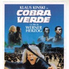 Cine: LA COBRA VERDE - KLAUS KINSKI - 1987 - EN EL REVERSO ARGUMENTO DE LA PELÍCULA. Lote 33210489