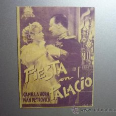 Cine: PROGRAMA CINE DOBLE FIESTA EN PALACIO -PUBLICIDAD. Lote 33215219