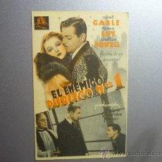 Cine: PROGRAMA CINE CARTULINA EL ENEMIGO PUBLICO NUM.1 .-CLARK GABLE. Lote 33218210