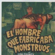 Cine: FOLLETO DE MANO EL HOMBRE QUE FABRICABA MONSTRUOS. Lote 33217669