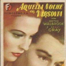 Cine: AQUELLA NOCHE EN VARSOVIA. SENCILLO DE FILMÓFONO. CINE SANTO DOMINGO.. Lote 33293542