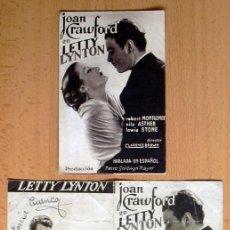 Cine: LETTY LYNTON - 2 PROGRAMAS DIFERENTES - PUBLICIDAD METROPOL CINEMA DE VILASSAR DE DALT. Lote 33303943