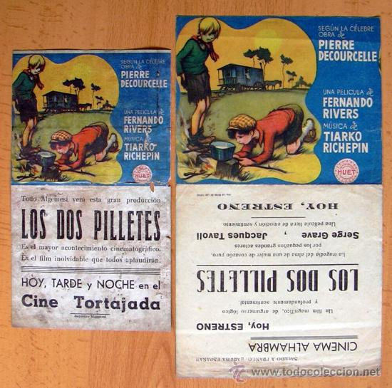 LOS DOS PILLETES - 2 PROGRAMAS DIFERENTES - CON PUBLICIDAD (Cine - Folletos de Mano - Drama)
