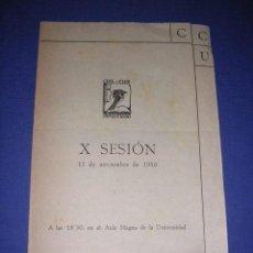 Cine: PROGRAMA CINE-CLUB UNIVERSITARIO X SESION 11 NOV. 1950 BARCELONA I BODA EN CASTILLA II OLIMPIADA 193. Lote 33305628