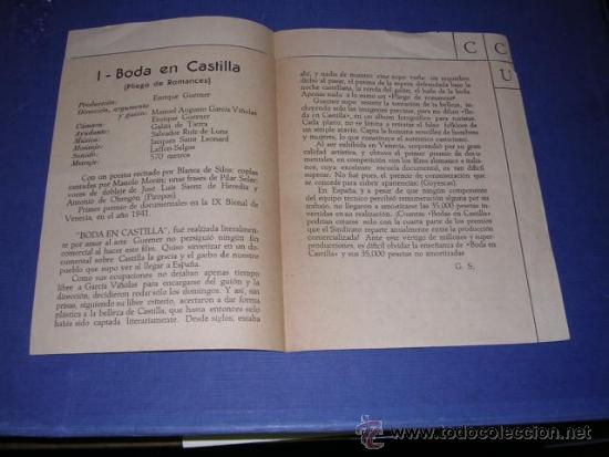 Cine: PROGRAMA CINE-CLUB UNIVERSITARIO X SESION 11 NOV. 1950 BARCELONA I BODA EN CASTILLA II OLIMPIADA 193 - Foto 2 - 33305628