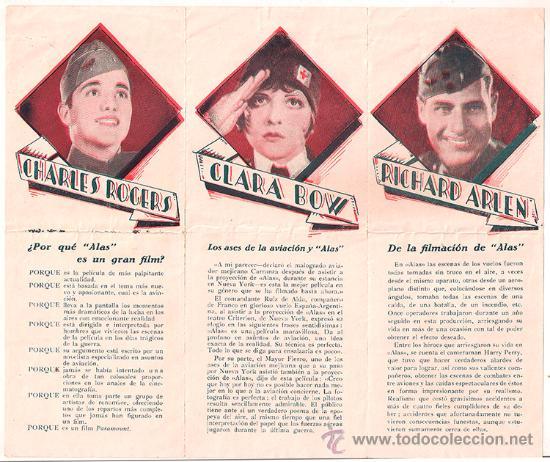 Cine: ALAS PROGRAMA TRIPTICO PARAMOUNT CLARA BOW CHARLES ROGERS GARY COOPER - Foto 2 - 33319414