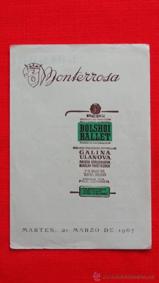 BOLSHOI BALLET, GALINA ULANOVA, PROGRAMA DOBLE LOCAL, 1967, EXCELENTE ESTADO, CINE MONTERROSA REUS (Cine - Folletos de Mano - Documentales)