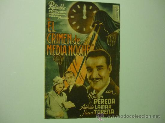 PROGRAMA CINE DOBLE EL CRIMEN DE MEDIANOCHE-PUBLICIDAD (Cine - Folletos de Mano - Drama)