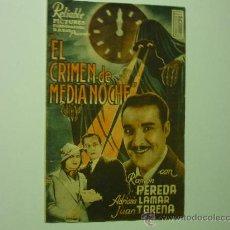 Cine: PROGRAMA CINE DOBLE EL CRIMEN DE MEDIANOCHE-PUBLICIDAD. Lote 33428148
