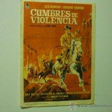 Cine: PROGRAMA MANO CUMBRES DE VIOLENCIA.-LEX BARKER-PUBLICIDAD. Lote 33430317