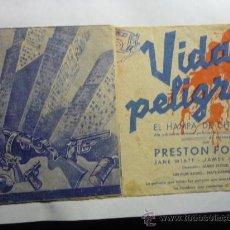 Cine: PROGRAMA CINE DOBLE VIDAS EN PELIGRO. Lote 33461899