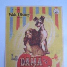 Cine: LA DAMA Y EL VAGABUNDO WALT DISNEY DIPENFA - FOLLETO DE MANO ORIGINAL ESTRENO CON CINE IMPRESO . Lote 33501128