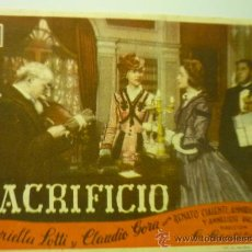 Cine: PROGRAMA PELICULA SACRIFICIO--PUBLICIDAD. Lote 33534284