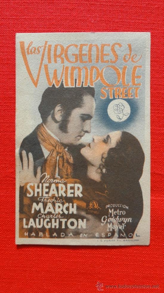 LAS VIRGENES DE WIMPOLE STREET, TARJETA MGM 1936, FREDRIC MARCH NORMA SHEARER , CP TEATRE MONUMENTAL (Cine - Folletos de Mano - Drama)