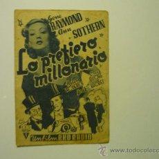 Cine: PROGRAMA CINE DOBLE-LO PREFIERO MILLONARIO- PUBLICIDAD. Lote 33637957