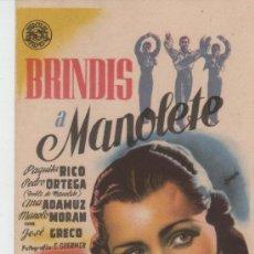 Cine: PROGRAMA SENCILLO BRINDIS A MANOLETE. Lote 33646913