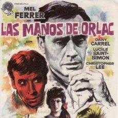 Cine: LAS MANOS DE ORLAC - MEL FERRER - CON PROPAGANDA. COLECCIONISMO EN RASTRILLO PORTOBELLO. Lote 33716842