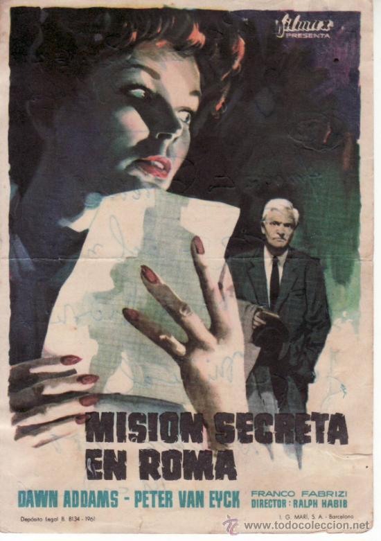 MISION SECRETA EN ROMA - RALPH HABIB - SIN PROPAGANDA.COLECCIONISMO EN RASTRILLO PORTOBELLO (Cine - Folletos de Mano - Suspense)