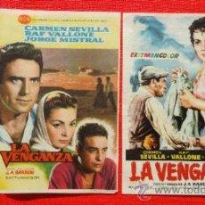 Cine: LA VENGANZA, 2 SENCILLOS EXCELENTE ESTADO, CARMEN SEVILLA RAF VALLONE JORGE MISTRAL, CON PUBLI. Lote 33721972