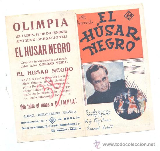 EL HUSAR NEGRO: CONRAD VEIDT (Cine - Folletos de Mano - Drama)