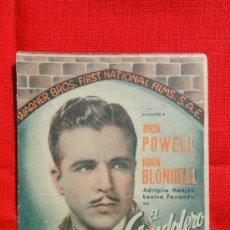 Cine: EL GONDOLERO DE BROADWAY, PROGRAMA DOBLE WARNER BROS 1937, DICK POWELL, C/P TERRAZA DEL T. MODERNO. Lote 33826765
