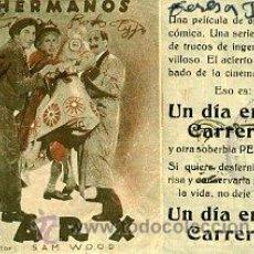 Cine: UN DIA EN LAS CARRERAS.- HERMANOS MARX.- TRIPLE. REVERSO TEATRO CHAPI. Lote 33856957