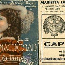 Cine: MARIETTA LA TRAVIESA.- JEANETTE MACDONALD.- TRIPLE.- IMPRESO CINE CAPITOL.. Lote 33857077