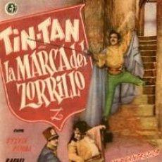 Cine: TIN-TAN, LA MARCA DEL ZORRILLO. SENCILLO GRANDE. REVERSO SIN IMPRIMIR.. Lote 34029693