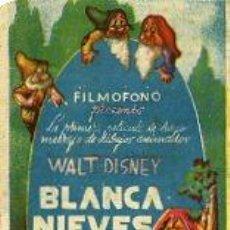 Cine: BLANCA NIEVES Y LOS SIETE ENANITOS.- SENCILLO. 7.11.1941. TEATRO PEREDA Y Mª LISARDA COLISEUM. Lote 34041255
