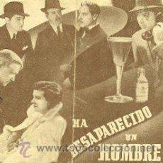 Cine: HA DESAPARECIDO UN HOMBRE.- DOBLE. REVERSO SIN IMPRIMIR.. Lote 34041314