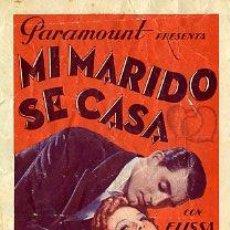 Cine: MI MARIDO SE CASA.- CARY GRANT.- DOBLE.- REVERSO IMPRESO SALON DORÉ. 27.4.1936.. Lote 34041396