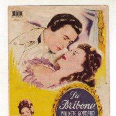 Cine: LA BRIBONA - PAULETTE GODDARD - 1945 - PUBLICIDAD EN TEATRO PRINCIPAL. Lote 34054089