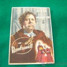 Cine: REMBRANT - CHARLES LAUGHTON - ELSA LANCHESTER - CON PUBLICIDAD 1943. Lote 34104160