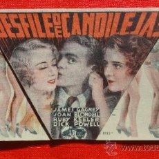 Cine: DESFILE DE CANDILEJAS, JAMES CAGNEY JOAN BLONDELL, DOBLE TROQUELADO 1934, CON PUBLI TEATRE FORTUNY. Lote 34126359
