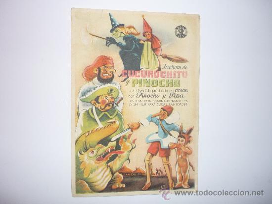 PROGRAMA CINE AVENTURAS DE CUCURUCHITO Y PINOCHO (Cine - Folletos de Mano - Infantil)