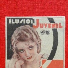 Cine: ILUSION JUVENIL, TARJETA WARNER BROS 1933, MARION MARSH ANITA PAGE , CON PUBLI TEATRO GUIMERA. Lote 34150764