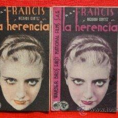 Cine: LA HERENCIA, 2 PROGRAMAS CARTONCILLO AÑOS 30 ORIGINALES, KAY FRANCIS Y RICARDO CORTEZ, SIN PUBLI. Lote 34156920