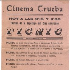 Cine: CINEMA TRUEBA BAEZA (JAEN) PAREJA DE FOLLETOS DE MANO