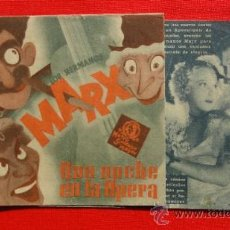 Cine: UNA NOCHE EN LA OPERA, DOBLE MGM AÑOS 30, EXCELENTE ESTADO, HERMANOS MARX, CON PUBLI CINEMA CATALUÑA. Lote 34219166