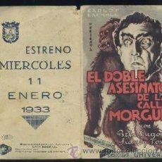 Cine: PROGRAMA DE CINE DOBLE: EL DOBLE ASESINATO DE LA CALLE MORGUE PC-1988. Lote 34248257