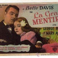 Cine: LA GRAN MENTIRA - BETTE DAVIS - 1941 - PUBLICIDAD EN S. CERVANTES - VERANO. Lote 34294031