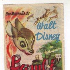Cine: BAMBI - WALT DISNEY - 1942 - PUBLICIDAD EN CINE AVENIDA. Lote 34327216