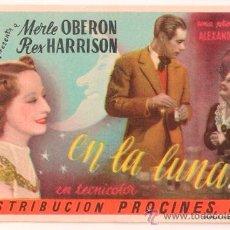 Cine: EN LA LUNA PROGRAMA SENCILLO PROCINES MERLE OBERON REX HARRISON ALEXANDER KORDA. Lote 34354047