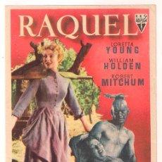 Cine: VUELVE A AMANECER RAQUEL PROGRAMA SENCILLO RKO LORETTA YOUNG WILLIAM HOLDEN ROBERT MITCHUM. Lote 34356101