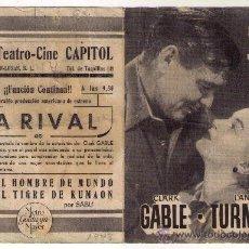 Cine: LA RIVAL - CLARK GABLE - 1948 - PUBLICIDAD EN GRAN TEATRO-CINE CAPITOL. Lote 34369812