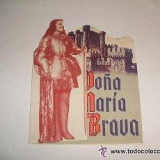 Cine: DOÑA MARIA LA BRAVA PROGRAMA DE MANO DOBLE TROQUELADO. Lote 34392570