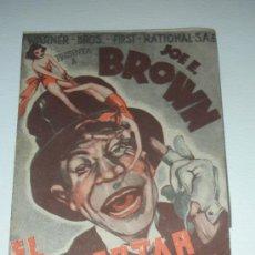 Cine: PROGRAMA DE MANO 'EL DESPERTAR DEL PAYASO' WARNER BROS. JOE E. BROWN PALACIO CINEMA. Lote 34392977